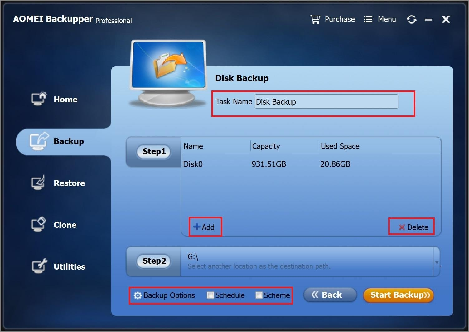Configure the backup task
