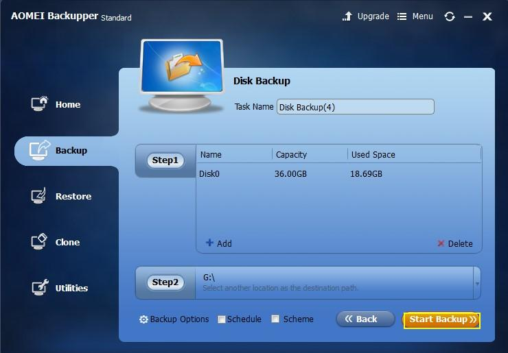 Start USB flash drive backup