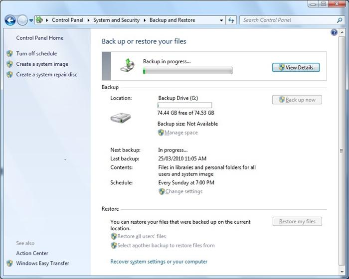 backup C drive in Windows 7