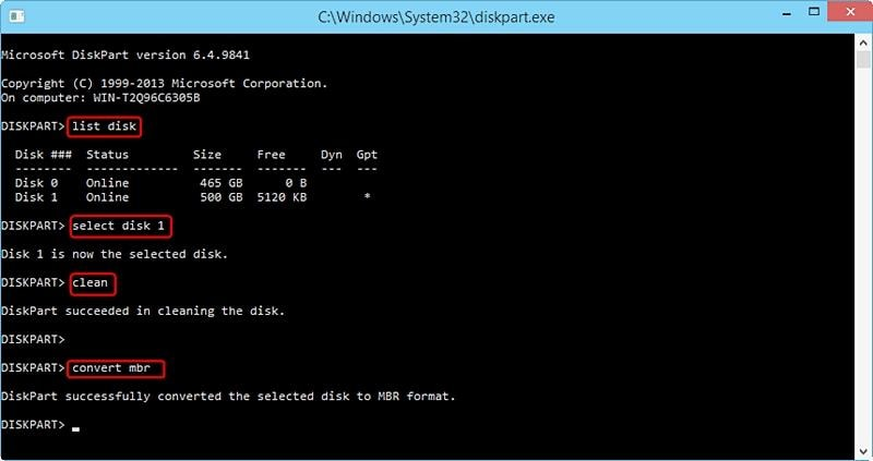 Convert MBR to GPT with Diskpart