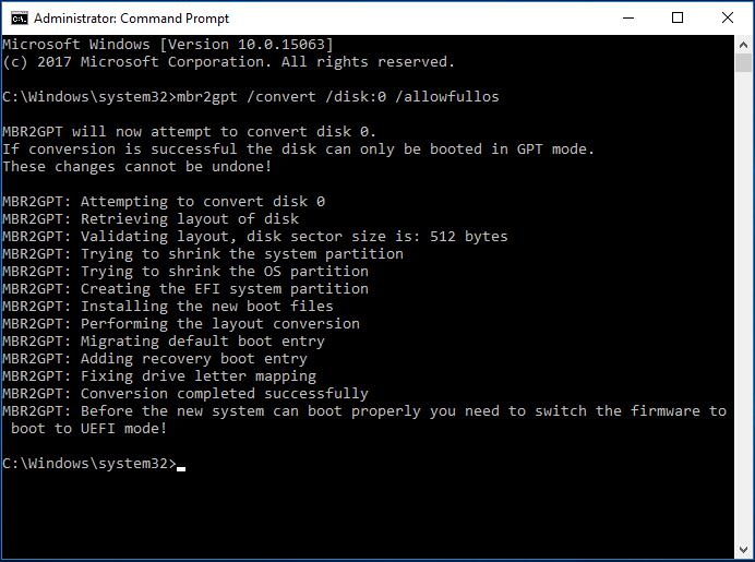 Convert MBR to GPT with MBR2GPT