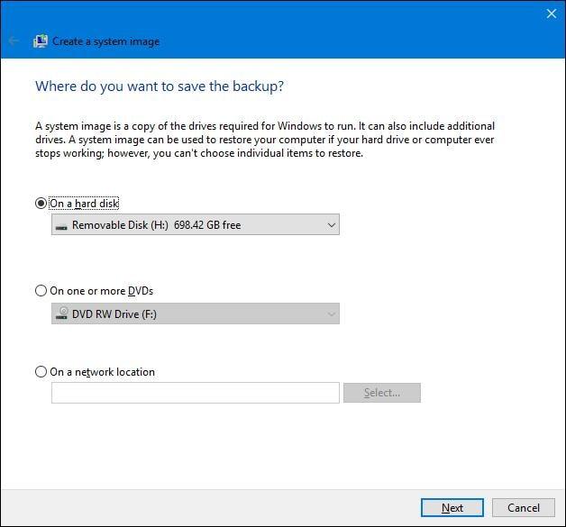 system image backup in Windows