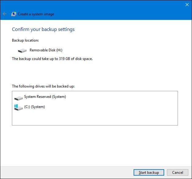 create system image backup in windows