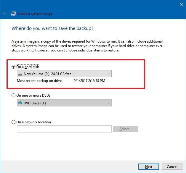 Select image backup location