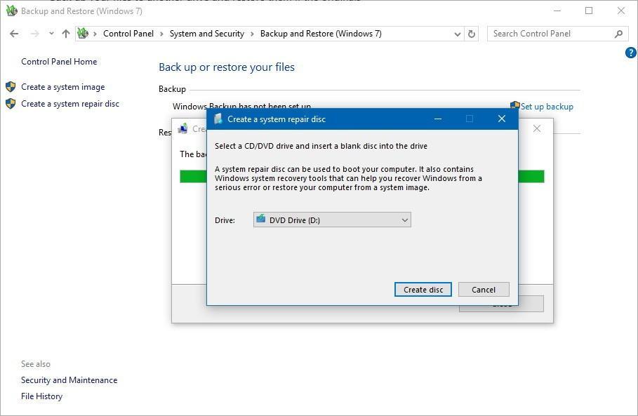 Windows 10 System repair disk
