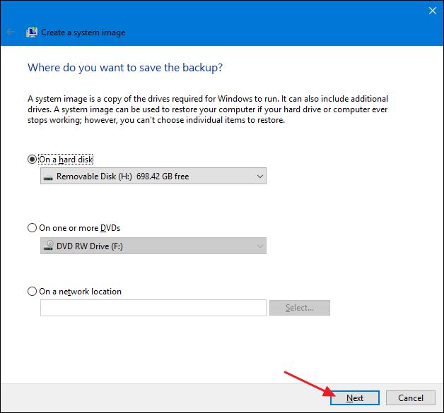 Select system image backup location