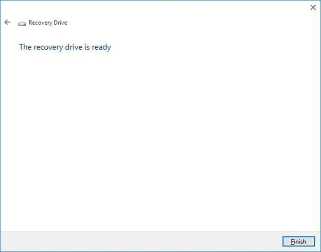 recovery drive is ready