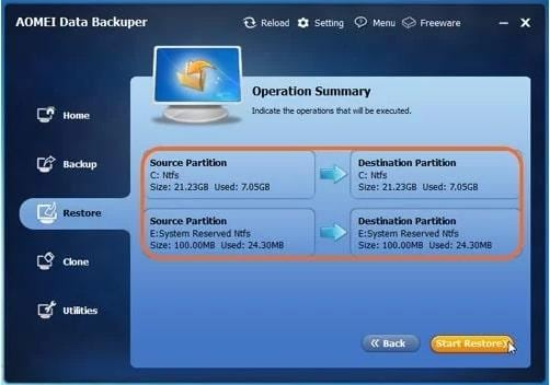 Restore from backup via