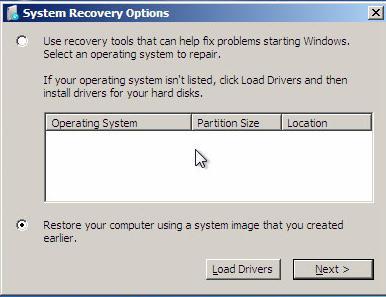 Systemwiederherstellungsoption