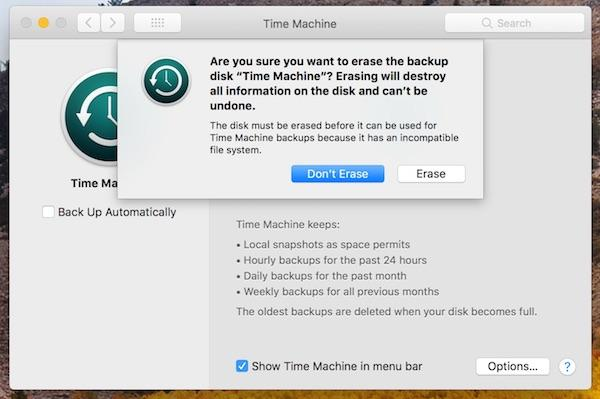 time machine backups