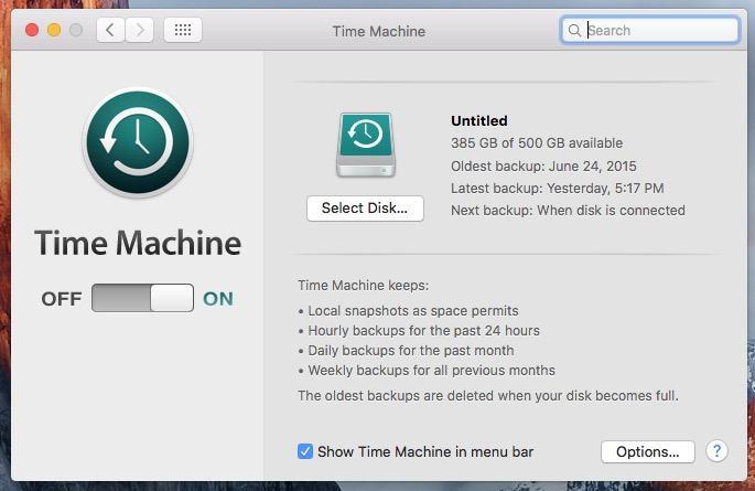 Backup mit Time Machine erstellen
