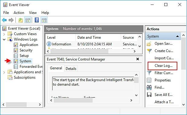 clear Windows event log
