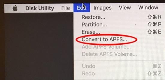 convertir HFS a APFS