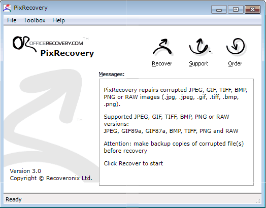PixRecovery to repair corrupted photos