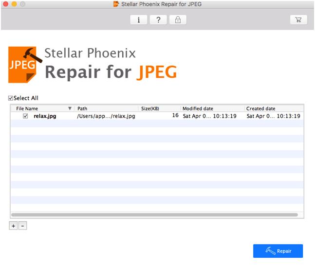 comenzar a reparar archivos Jpg