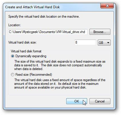 create virtual hard drive step 3