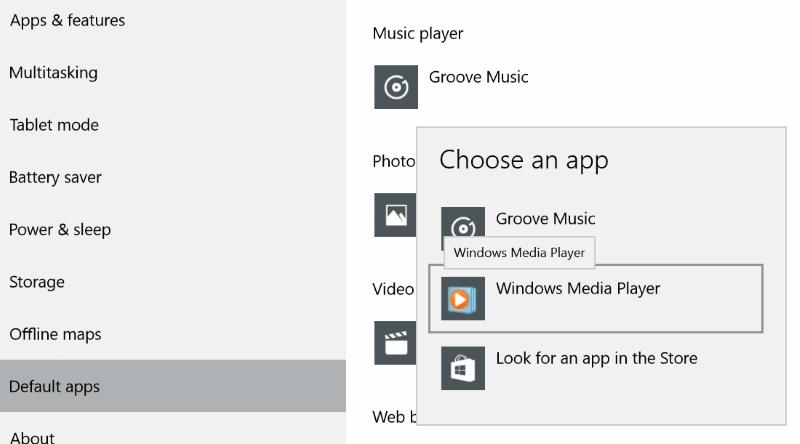 Settings choose default apps