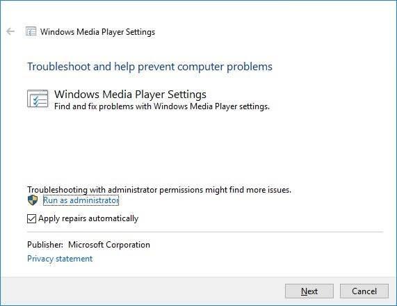 Windows media player settings