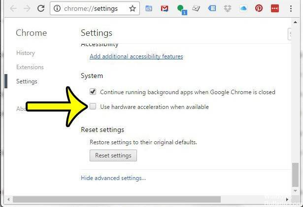 disable hardware acceleration Chrome