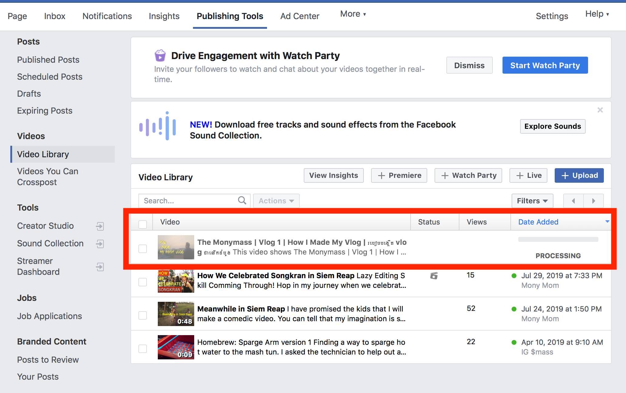 facebook video upload stuck