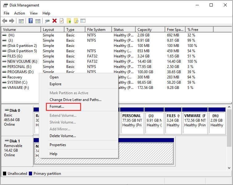 format sd card disk management 1