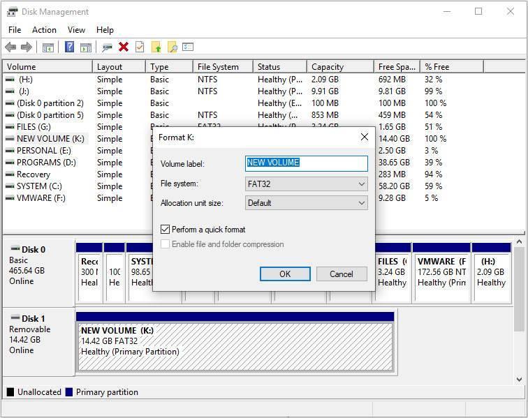 format sd card disk management 2