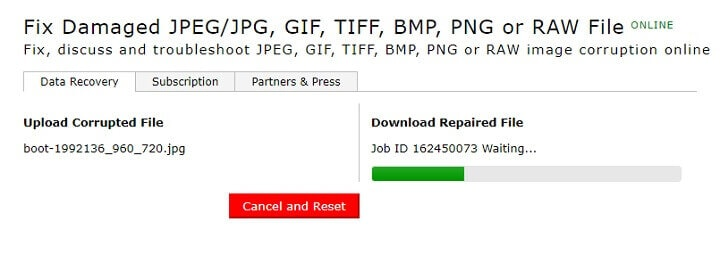 repair corrupted JPEG files online free