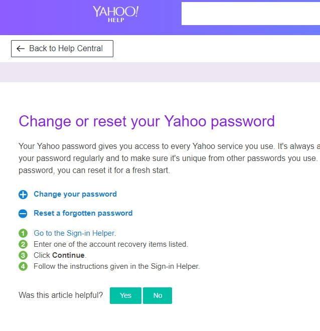 reset yahoo mail password