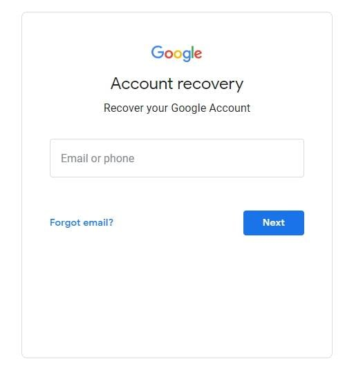 reset your gmail account password