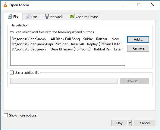 vlc add multiple videos