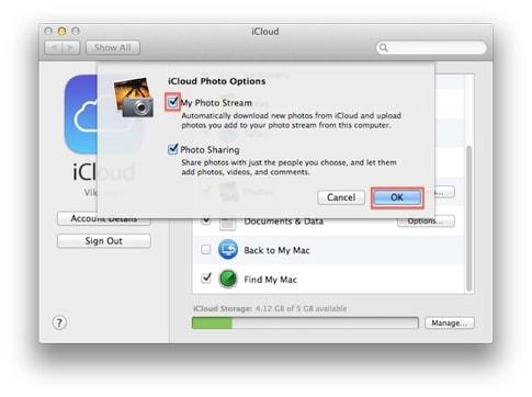 activer le flux de photos sur le MAC