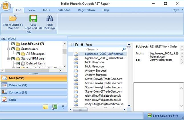 repair pst file in outlook 2007 step 3