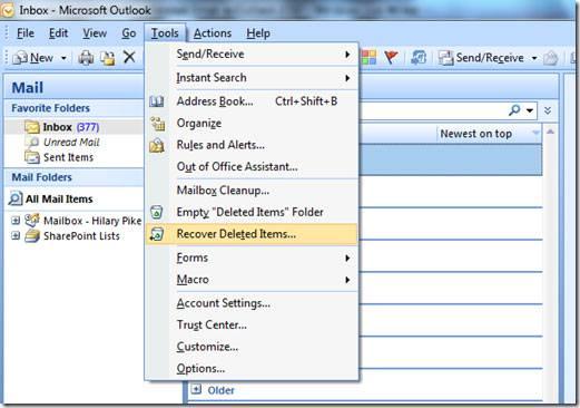 récupérer les e-mails supprimés de Outlook 2007 étape 1