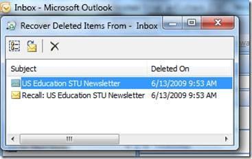 récupérer les e-mails supprimés de Outlook 2007 étape 2