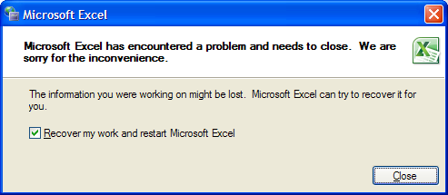 fix Excel file error