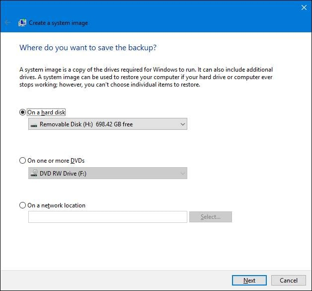 sistema de respaldo de imagen en Windows