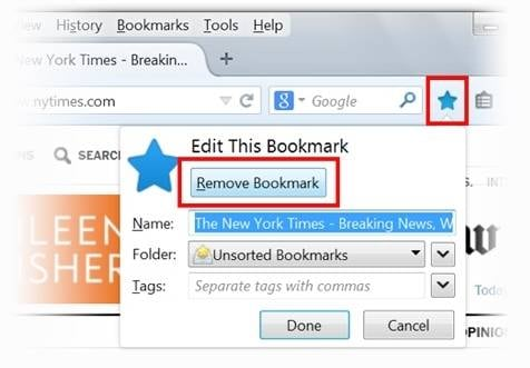 remove bookmark in firefox