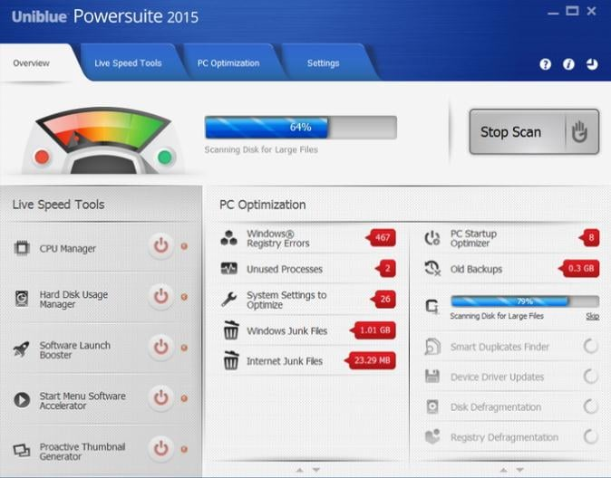 Uniblue PowerSuite para Eliminar Archivos No Deseados de Windows