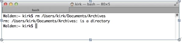 Eliminación de archivos/carpetas usando la línea de comandos en Mac