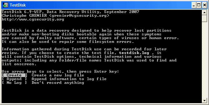 resize partition with testdisk step 1