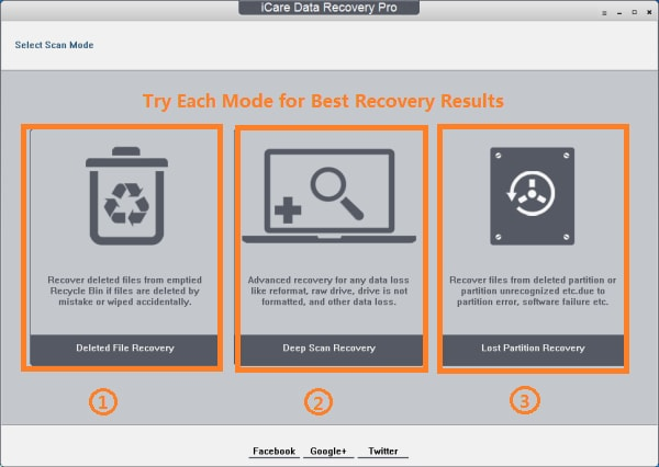iCare Data Recovery Step 1