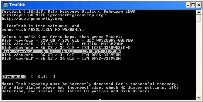 resize partition with testdisk step 2