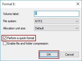 set hard drive format configuration