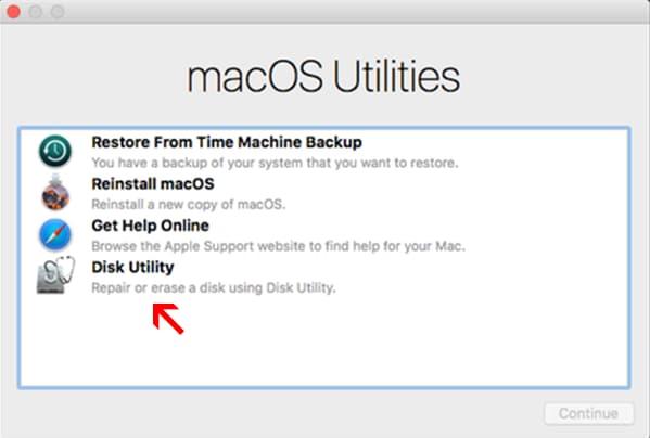 Mac-Disk Utility-Tool zum Reparieren der Festplatte