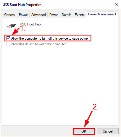 uncheck power save box