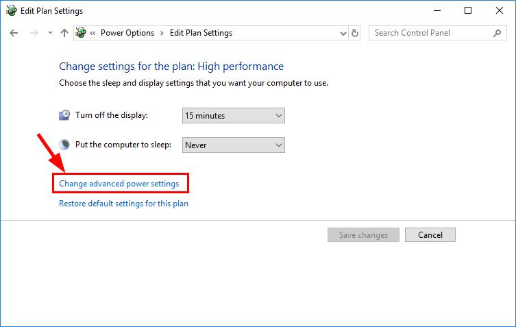 choose advanced power settings