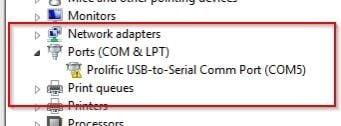 prolific usb to serialcomm port