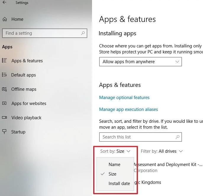 desinstalar aplicaciones de windows10