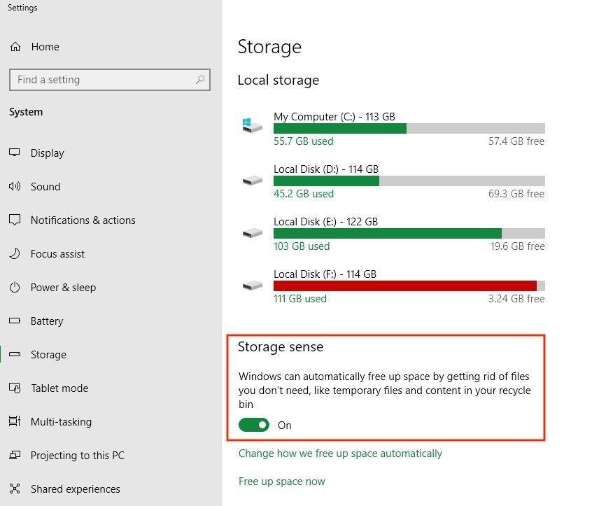 liberar espacio automáticamente en Windows
