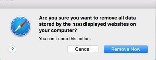 final step to clear cookies on mac